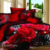 achat en gros de 3d bed set-Nouvelle Collection Rose rouge réaliste 3D Imprimé 4 pièces Literie 100% Coton Winter 3D Bedding Supplies Expédition Plein Reine Roi Tailles gratuit