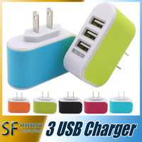 Wholesale Wall charger Travel Adapter For Iphone S Plus Colorful Home Plug LED USB Charger For Samsung S6 ports usb charger