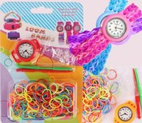 Wholesale 100set Children Girls DIY Knitted Loom Watch Childs Rainbow Sinews Watches Kids Rubber Wristwatches Rubber Band Watches Colors M2227