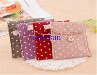 Cheap DHL Freeshipping 300pcs Small and pure and fresh Dot Pure color Sanitary napkin storage case Linen Hasp Cosmetic bag