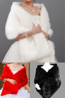 fur capes - Stock _Ivory Red Black Faux Fur Wedding Bridal Wrap Woman Shawl Cape Stole