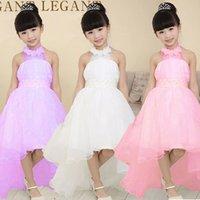 lace - Children s clothing girls dress Korean girls princess white lace long tail wedding kids dresses for girls