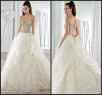 Cheap Stunning Ruffled Tulle Wedding Dresses Sweep Train 2016 Demetrios Sweetheart Neckline Corset Bodice Lace-Up Back VE Beaded Bridal Gowns 623