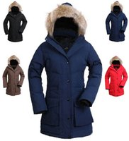 Wholesale goose down coats thicken wind proof keep warm long down outercoat for lady in colors