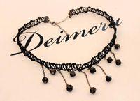 Colliers bib Prix-L'arrivée de nouveaux femmes Crystal Fashion Lace Pendentif Collier Déclaration de la chaîne Collier plastron pendentif bijou en dentelle noire gros