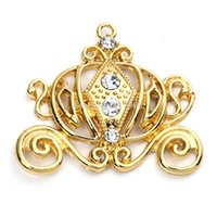 Wholesale 41 mm Gold Cinderella Carriage Rhinestone Pendant for Kids Chunky Neckalce Jewelry