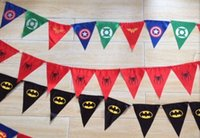 garland christmas - Spiderman superman batman pennant flag banner triangle flag banner fabric custom flags and banners christmas garland decoration in stock