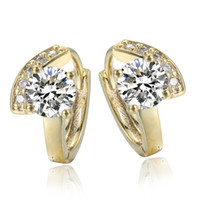 Wholesale NEW LOVELY Lady Womens Girl K CT Real Yellow Gold Filled Zircon hoop Wedding Earrings Fashion Jewelry