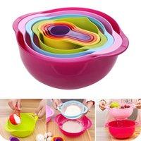 Wholesale Multifunctional kitchen Rainbow bowl measuring spoon measuring cup filter Drain bowl mixing bowl Set