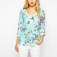Wholesale Women Design Chiffon Blouses Sleeve V Neck solid green blouses Elegant Floral Printed Blouse Casual Loose Shirt Feminino Blusa Tops