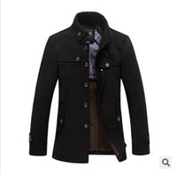 Wholesale Top Quality Brand New Cashmere Coat Winter Warm Wool Coat Men Casual Slim jacket Male Overcoat SQL1297