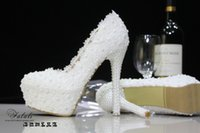 Wholesale White Lace pearls Wedding Shoes cm High Heel Bridal Shoes Party Prom Women Shoes waterproof shoes