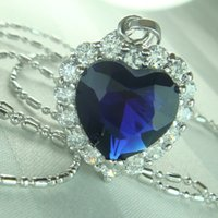 9ct gold - 9K CT White Gold Filled Heart Of The Ocean Elegant Necklace N126