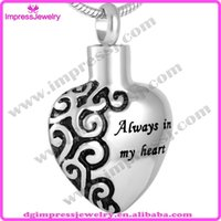 ash gold - IJD2472 Classic design L stainless steel cremation jewelry memorial ashes urn necklace keepsake heart pendant Always in my heart