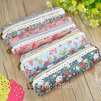 Wholesale Makeup Bag Pencil Case school supplies Cosmetic Make Up Zipper Pouch Purse Mini Retro Flower Floral Lace
