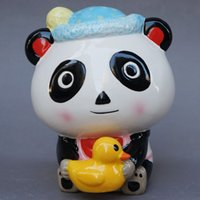 Wholesale Exports of ceramic piggy bank oversized Creative Kids Panda cute animal gift piggy save big yellow duck