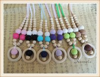 Wholesale 6 colors to choose nursing wooden crochet necklace Teething Breastfeeding Necklace Gift for Babywearing Moms NW1865