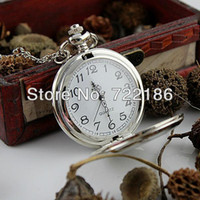 Wholesale 2014 Mother Days Gift New Arrival Quartz Fashion Jewelry Silver Color Alloy Chain Pocket Watch Necklace
