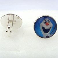 Wholesale Statement Jewelry Snowman Frozen Glass Cabochon Cufflinks