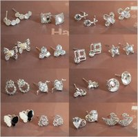Cheap Stud Simple Stud earrings Best Crystal, Rhinestone White Silver plate stud earrings multicolor