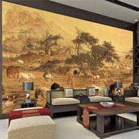 horse decor - Vintage painting Horses Custom Large Wallpaper Animal Photo Wallpaper Canvas Non Woven Silk Wall Painting Art Mural Room decor