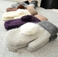 Wholesale 2015 Winter Pom ball Fur Glove Warm Wool Rabbit Fur Ball MittenTop Knitted Knitting GlovesThick Mittens J703