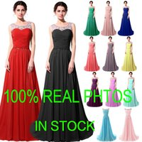 Model Pictures crystals - Real Image Chiffon Crystal Formal Evening Prom Dresses Beads Pink Mint Red Black Long Bridesmaid Bridal Party Gowns In Stock Plus Size