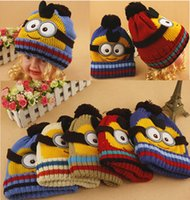 Cheap Despicable Me Minions NEW Fashion Baby 3D Robot Crochet Hats Infant Knitted Caps Fall Autumn Winter Warm Beanie Boy Hat Free shipping A-0248