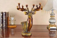 animal art activities - Luxurious resin animal head decorative candle holder deer head style candle base holder