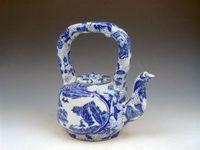 porcelain teapot white - Blue White Porcelain QingHua Flower Scenery Painted Large Teapot w High Handle