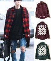 Wholesale New Trend Fashion off white number casual Shirts Men s Plaid Shirts Retro Plaid Long sleeve Casual Shirts