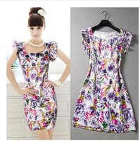 Cheap Women Purple roses satin flounce sleeves tight dress Slim mini printing cute Dresses Factory Outlet 2015 Spring new Dress
