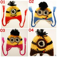 Wholesale 10pcs BBA3877 new color kids minions Crochet beanie knits handmade beanies baby Despicable Me beanies caps hats christmas halloween gift