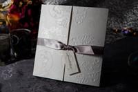 embossed wedding invitations - 2016 Simple Elegant Embossed Wedding Invitations Cards with Brown Bows Folded Party Invitation Cards MYF1108