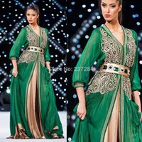 Cheap Long Sleeve Muslim Kaftans Evening Dress Dubai Elegance Green Embroidery Popular Special Arabic Chiffon Kaftan Islamic Abaya