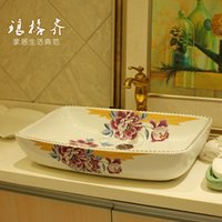 Wholesale National Jingdezhen ceramic bathroom counter basin vanity wash basin basin art basin purple peony