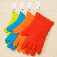 Wholesale New Kitchen Cooking Gloves Microwave Oven Non slip Mitt Heat Resistant Silicone Home Gloves Cooking Baking BBQ Oven Pot Holder Mitt
