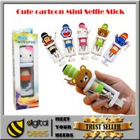 Wholesale lovely cartoon super mini wired selfie stick aluminum colorful mini portable monopod for Iphone s s sumsung note multi choice of types