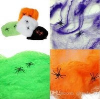 halloween decorations - Interesting Multicolor Halloween Haunted House Prop Decoration Supplies Stretchable Spider Web Spider Cotton Decorations LJJH517