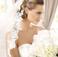 Model Pictures ivory wedding veils - 2015 Top Quality Mantilla Cathedral Wedding Veil with Comb White Ivory Lace Edge Meters Long Bridal Veil velo Muslim Bridal Veils