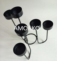 metal candle stand - Handmade Romatic wedding decoration candle stand simple style metal candle holders six bowls iron candle holder