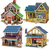 Wholesale exotic styles puzzle country famous building model kids wooden puzzles D famous model building toy adult child kid puzzles