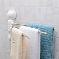 Wholesale wall Mounted Strong Suction Cup Towel Bar Stainless Steel Rod Towel Rack Rotating Bathroom Sucker Adhesive Hanging Movable Bath Towel Holder