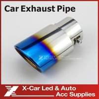 Wholesale New Arrival Automotive Replacements Titanium Blue Stainless Steel Muffler Tail Pipe Exhaust End Eduction Pipe Decoration