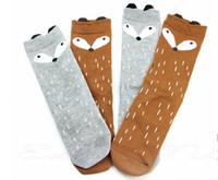 Nuevo 2015 Chicas rodilla calcetines altos Kids Soft niños del algodón Fox Patrón rodilla calcetines altos para las muchachas del regalo de Navidad Niños