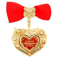 best cartoon drawings - Exclusive top Sale Heart shaped bowknot medal The birthday Souvenir for The best grandma in the world