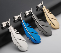 Wholesale NEW Fashion Stainless steel Charms feather Pendants Fashion Jewelry DIY Fit Bracelets Necklace colors CC09
