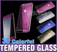 Wholesale For iphone s D colorful tempered Glass protection film color Tempered glass Full screen Radian protector for iphone plus samsung note