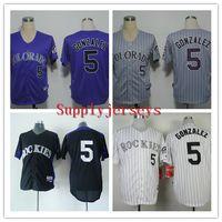 Cheap Cheap Baseball Jerseys ROCKIES Men #5 GONZALEZ purple White strip stitched Athletic jersey Mix Order High Quality Free Shipping