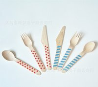 Wholesale Wooden Utensils Cutlery Set Disposable Wooden Spoon Fork Knife in Chevron Stripe Polka Dots Birthday party supply set
